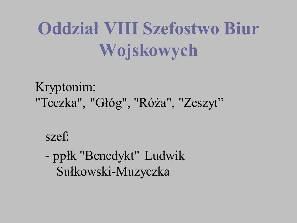 Oddział VIII Szefostwo Biur Wojskowych szef: - ppłk