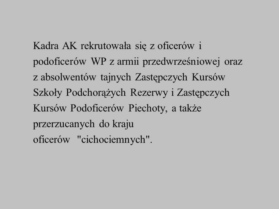 Kadra AK rekrutowała się z oficerów i podoficerów WP z armii przedwrześniowej oraz z absolwentów tajnych Zastępczych Kursów Szkoły Podchorążych Rezerw