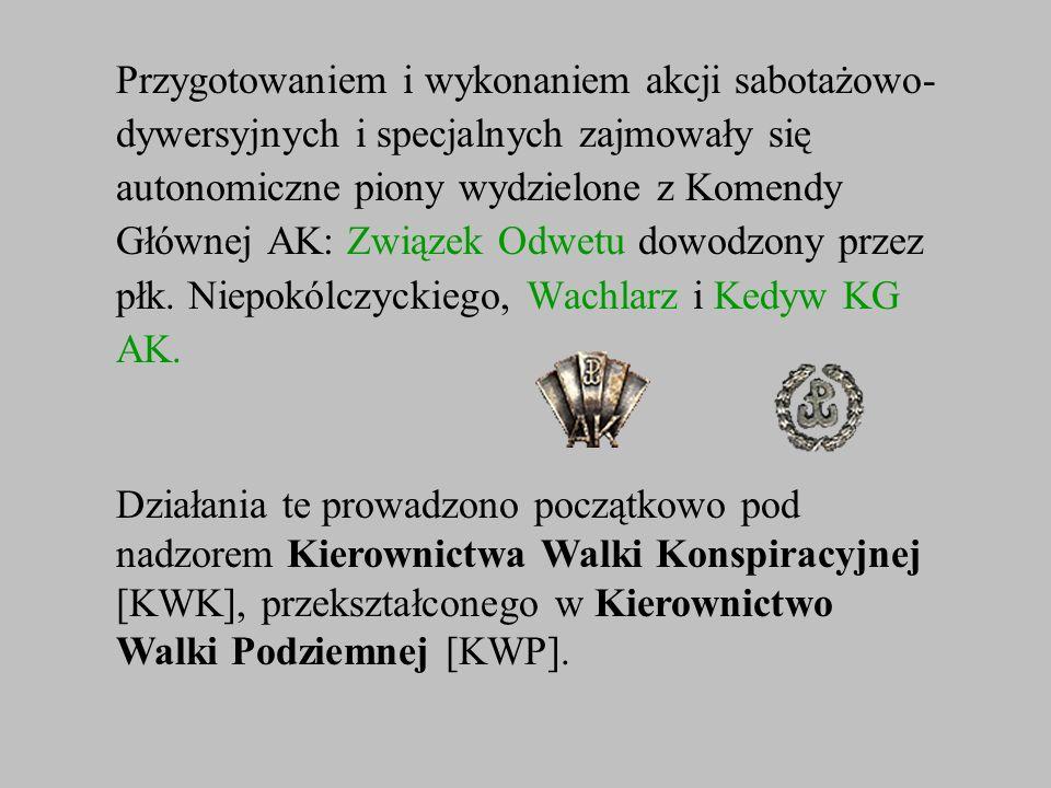 Przygotowaniem i wykonaniem akcji sabotażowo- dywersyjnych i specjalnych zajmowały się autonomiczne piony wydzielone z Komendy Głównej AK: Związek Odw