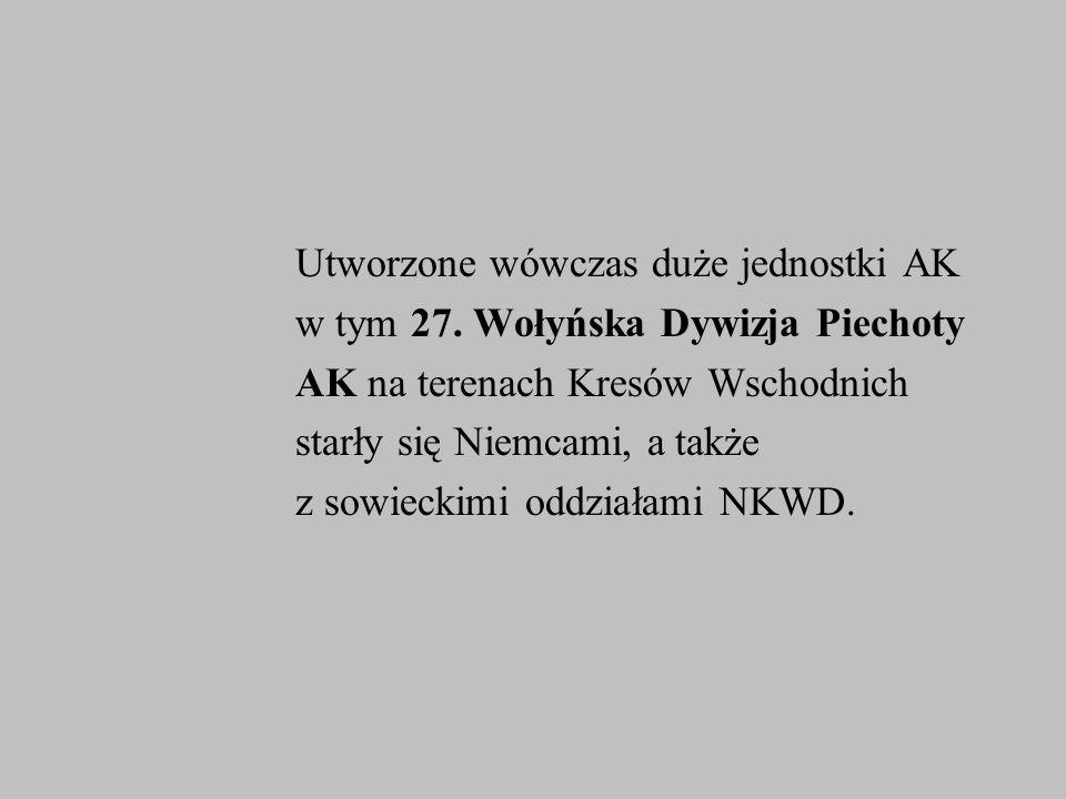 Utworzone wówczas duże jednostki AK w tym 27. Wołyńska Dywizja Piechoty AK na terenach Kresów Wschodnich starły się Niemcami, a także z sowieckimi odd