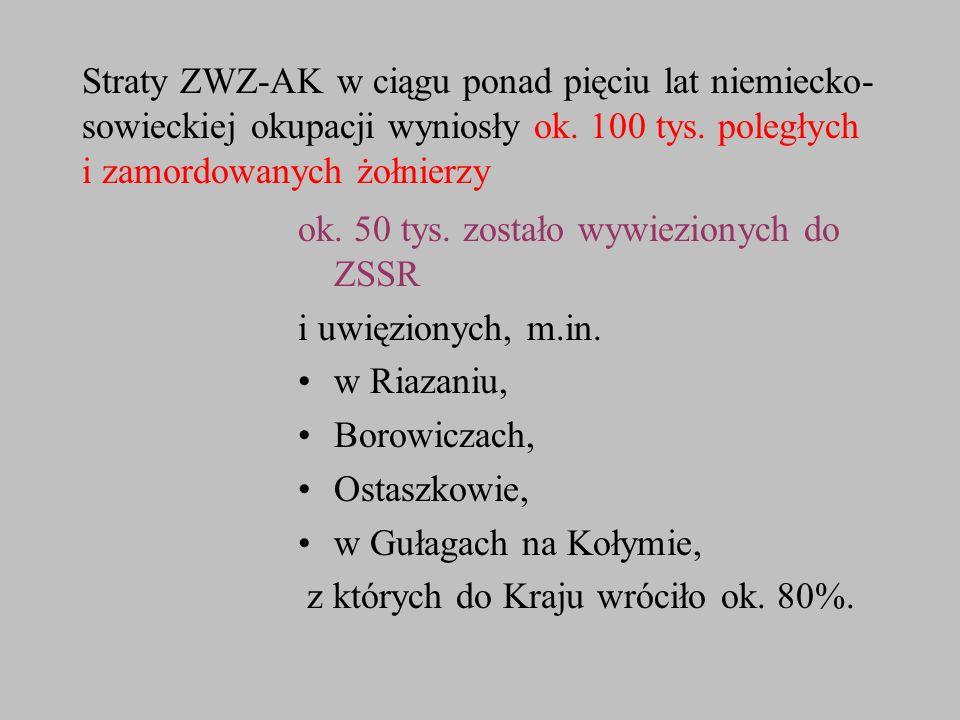 Straty ZWZ-AK w ciągu ponad pięciu lat niemiecko- sowieckiej okupacji wyniosły ok. 100 tys. poległych i zamordowanych żołnierzy ok. 50 tys. zostało wy