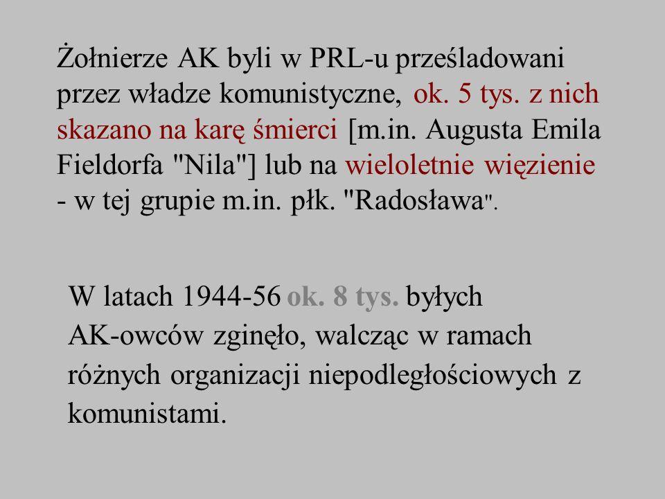 Żołnierze AK byli w PRL-u prześladowani przez władze komunistyczne, ok. 5 tys. z nich skazano na karę śmierci [m.in. Augusta Emila Fieldorfa