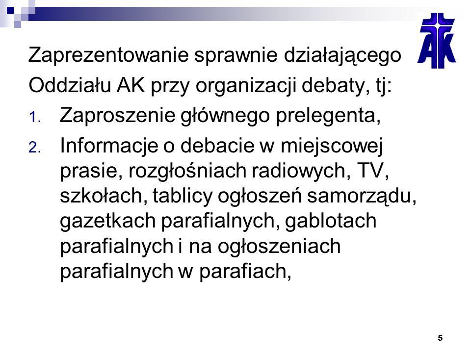 5 Zaprezentowanie sprawnie działającego Oddziału AK przy organizacji debaty, tj: 1.