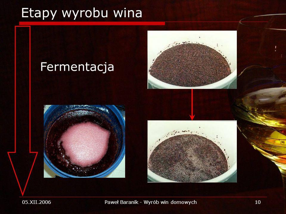 05.XII.2006Paweł Baranik - Wyrób win domowych10 Etapy wyrobu wina Fermentacja