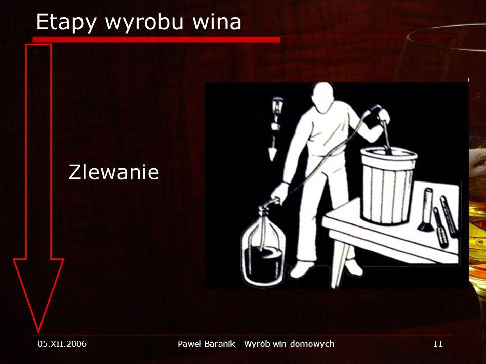 05.XII.2006Paweł Baranik - Wyrób win domowych11 Etapy wyrobu wina Zlewanie