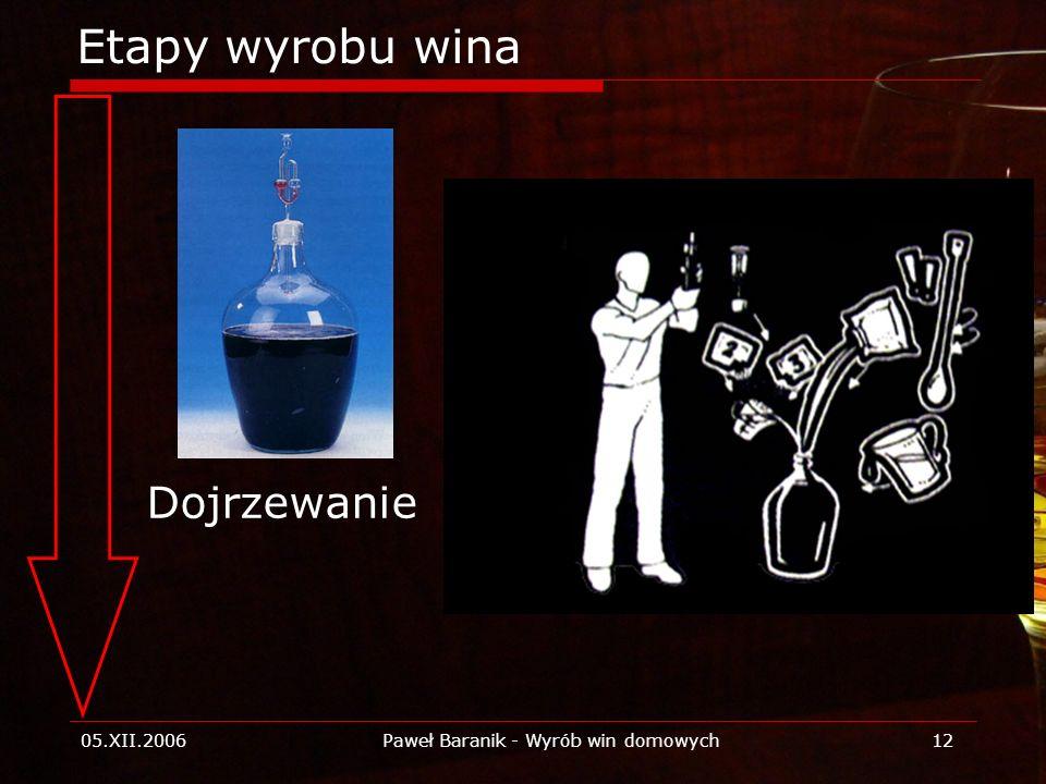 05.XII.2006Paweł Baranik - Wyrób win domowych12 Etapy wyrobu wina Dojrzewanie