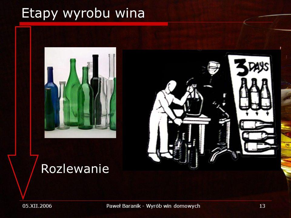 05.XII.2006Paweł Baranik - Wyrób win domowych13 Etapy wyrobu wina Rozlewanie