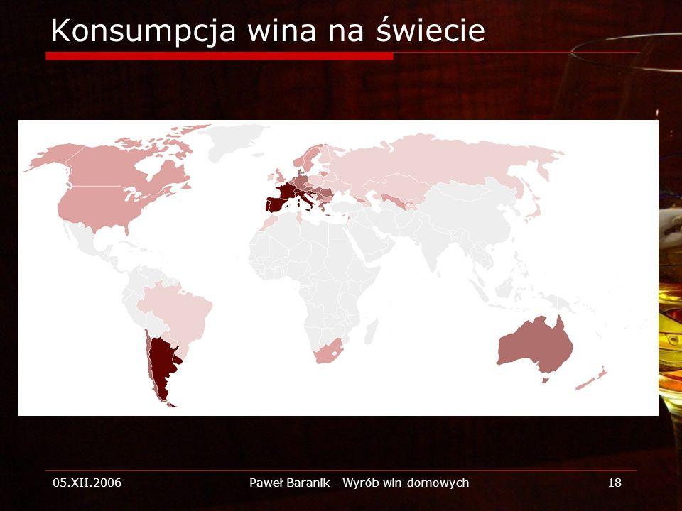 05.XII.2006Paweł Baranik - Wyrób win domowych18 Konsumpcja wina na świecie