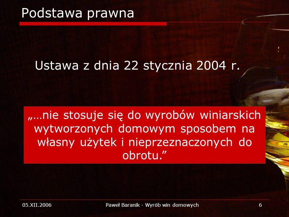 05.XII.2006Paweł Baranik - Wyrób win domowych6 Podstawa prawna Ustawa z dnia 22 stycznia 2004 r. …nie stosuje się do wyrobów winiarskich wytworzonych
