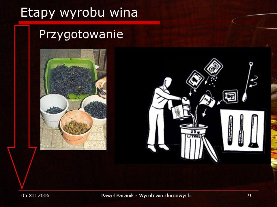 05.XII.2006Paweł Baranik - Wyrób win domowych9 Etapy wyrobu wina Przygotowanie