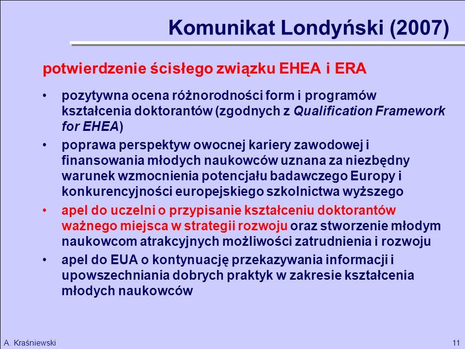 11A. Kraśniewski Komunikat Londyński (2007) potwierdzenie ścisłego związku EHEA i ERA pozytywna ocena różnorodności form i programów kształcenia dokto