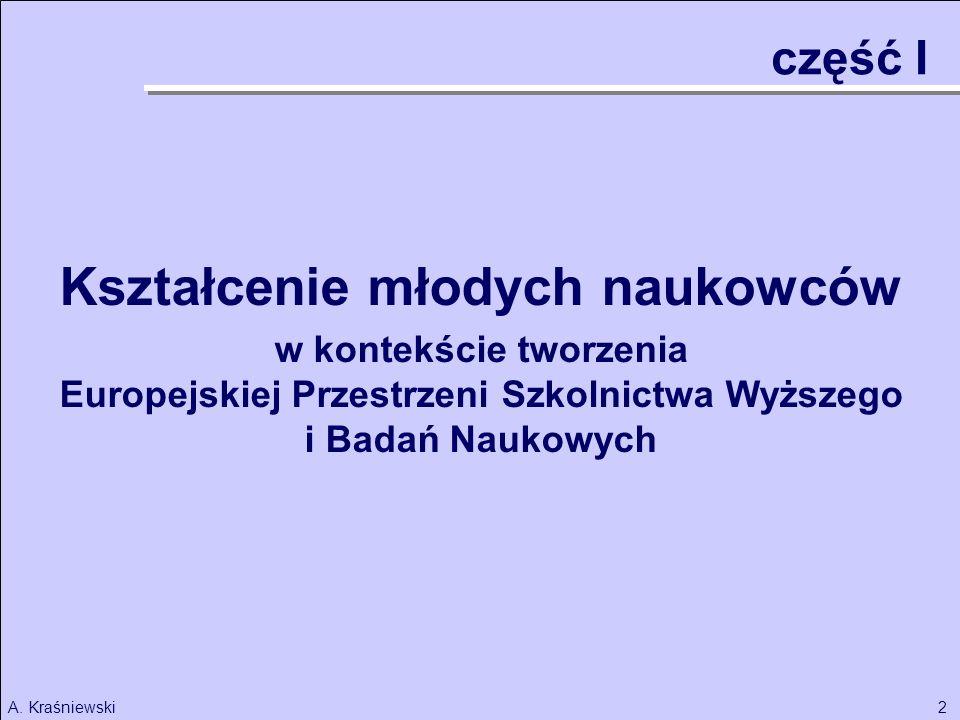 2A. Kraśniewski część I Kształcenie młodych naukowców w kontekście tworzenia Europejskiej Przestrzeni Szkolnictwa Wyższego i Badań Naukowych