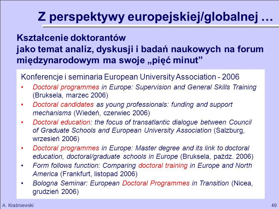 49A. Kraśniewski Kształcenie doktorantów jako temat analiz, dyskusji i badań naukowych na forum międzynarodowym ma swoje pięć minut Z perspektywy euro