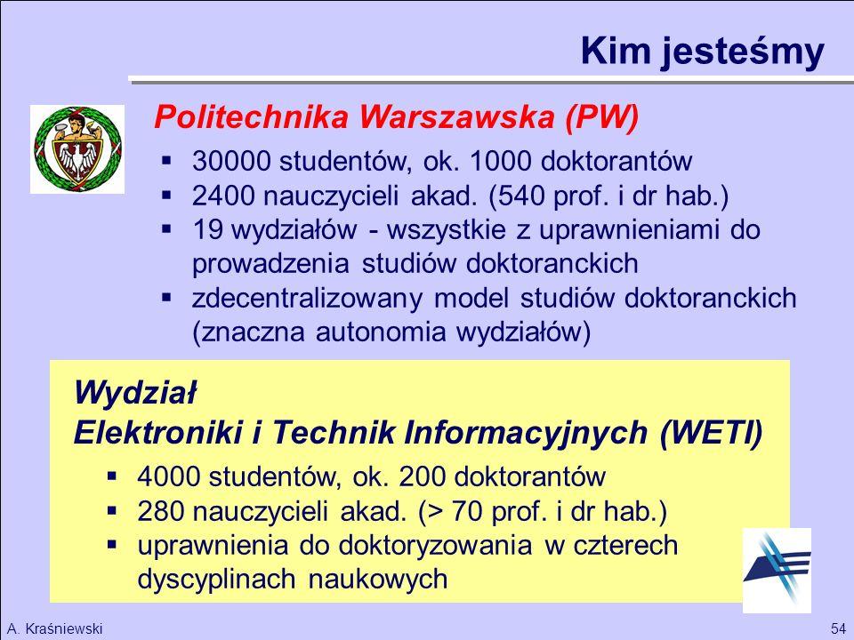 54A. Kraśniewski 30000 studentów, ok. 1000 doktorantów 2400 nauczycieli akad. (540 prof. i dr hab.) 19 wydziałów - wszystkie z uprawnieniami do prowad
