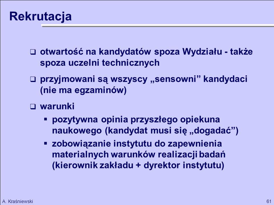 61A. Kraśniewski Rekrutacja otwartość na kandydatów spoza Wydziału - także spoza uczelni technicznych przyjmowani są wszyscy sensowni kandydaci (nie m
