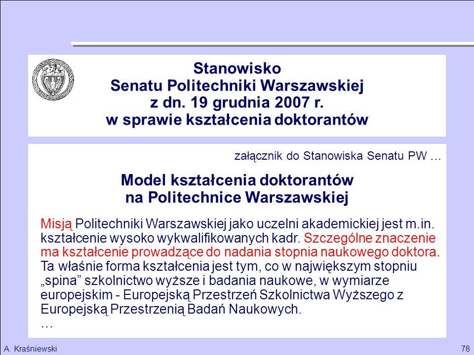 78A. Kraśniewski Model kształcenia doktorantów na Politechnice Warszawskiej Misją Politechniki Warszawskiej jako uczelni akademickiej jest m.in. kszta