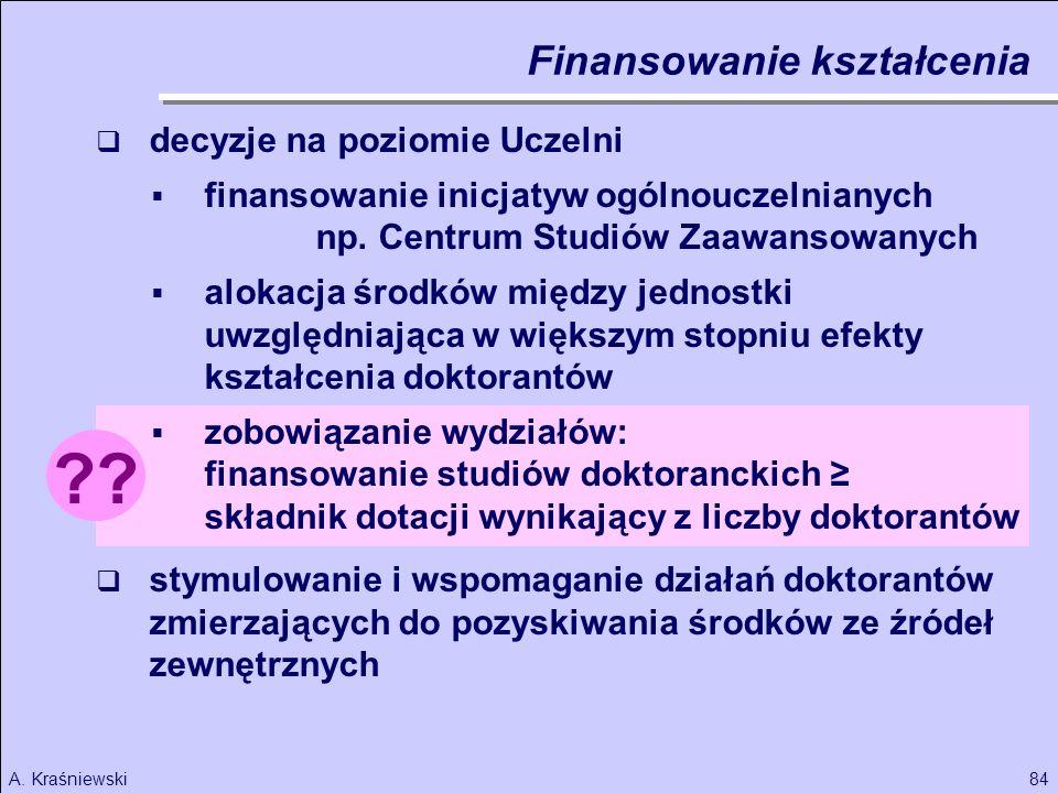 84A. Kraśniewski ?? decyzje na poziomie Uczelni finansowanie inicjatyw ogólnouczelnianych np. Centrum Studiów Zaawansowanych alokacja środków między j