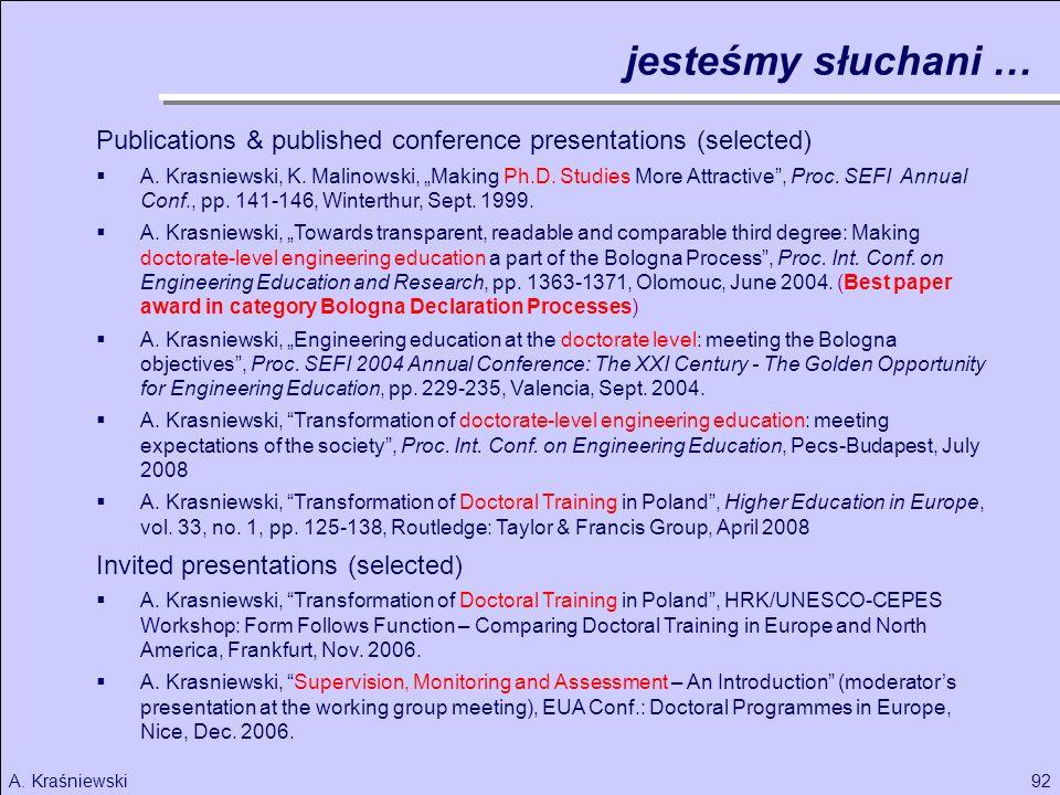 92A. Kraśniewski Publications & published conference presentations (selected) A. Krasniewski, K. Malinowski, Making Ph.D. Studies More Attractive, Pro