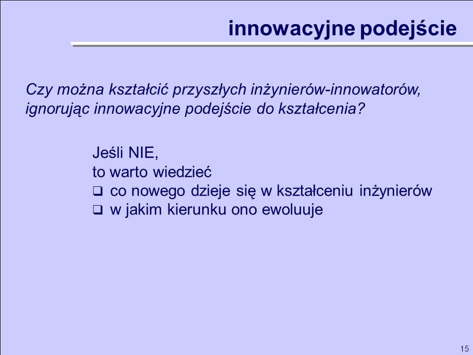 15 innowacyjne podejście Czy można kształcić przyszłych inżynierów-innowatorów, ignorując innowacyjne podejście do kształcenia? Jeśli NIE, to warto wi