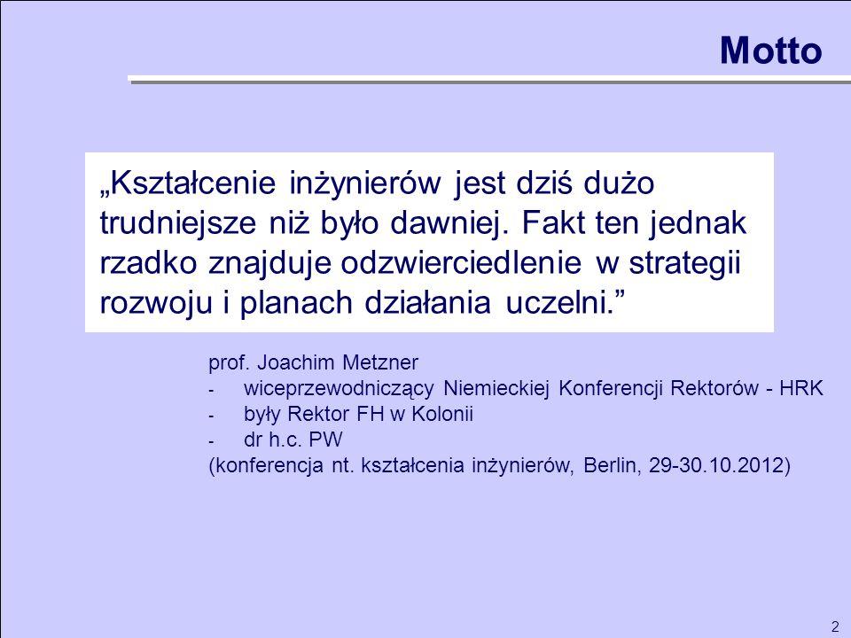 2 Motto prof. Joachim Metzner - wiceprzewodniczący Niemieckiej Konferencji Rektorów - HRK - były Rektor FH w Kolonii - dr h.c. PW (konferencja nt. ksz