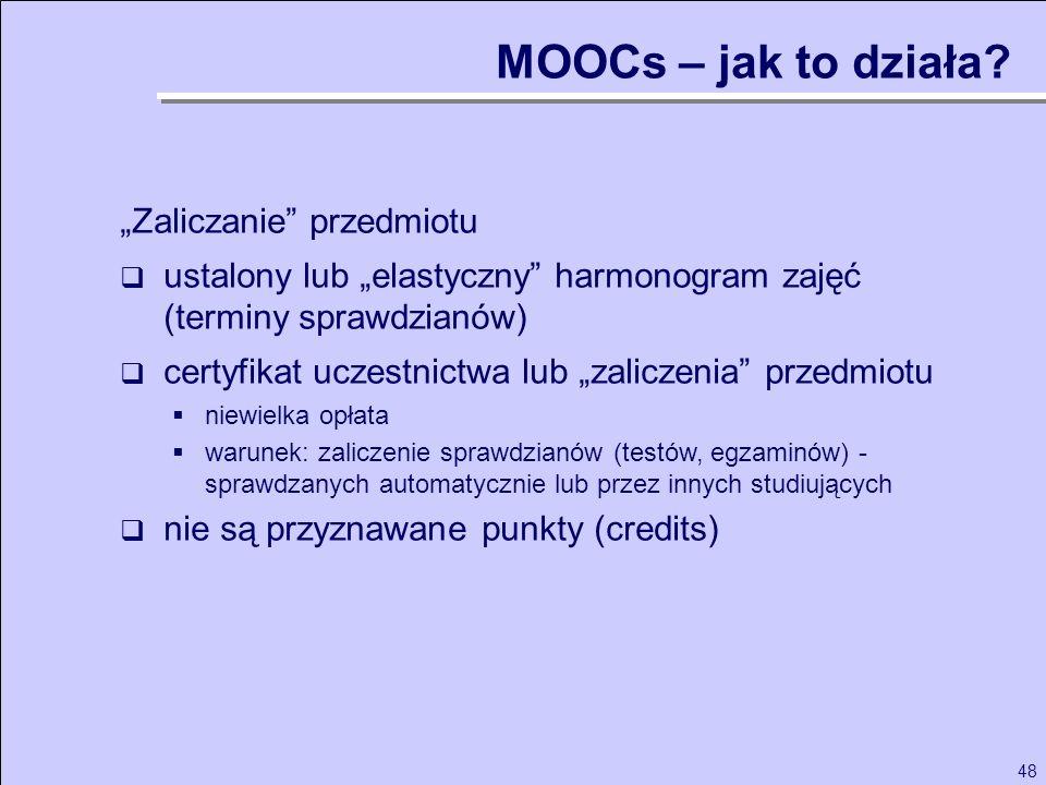 48 Zaliczanie przedmiotu ustalony lub elastyczny harmonogram zajęć (terminy sprawdzianów) certyfikat uczestnictwa lub zaliczenia przedmiotu niewielka