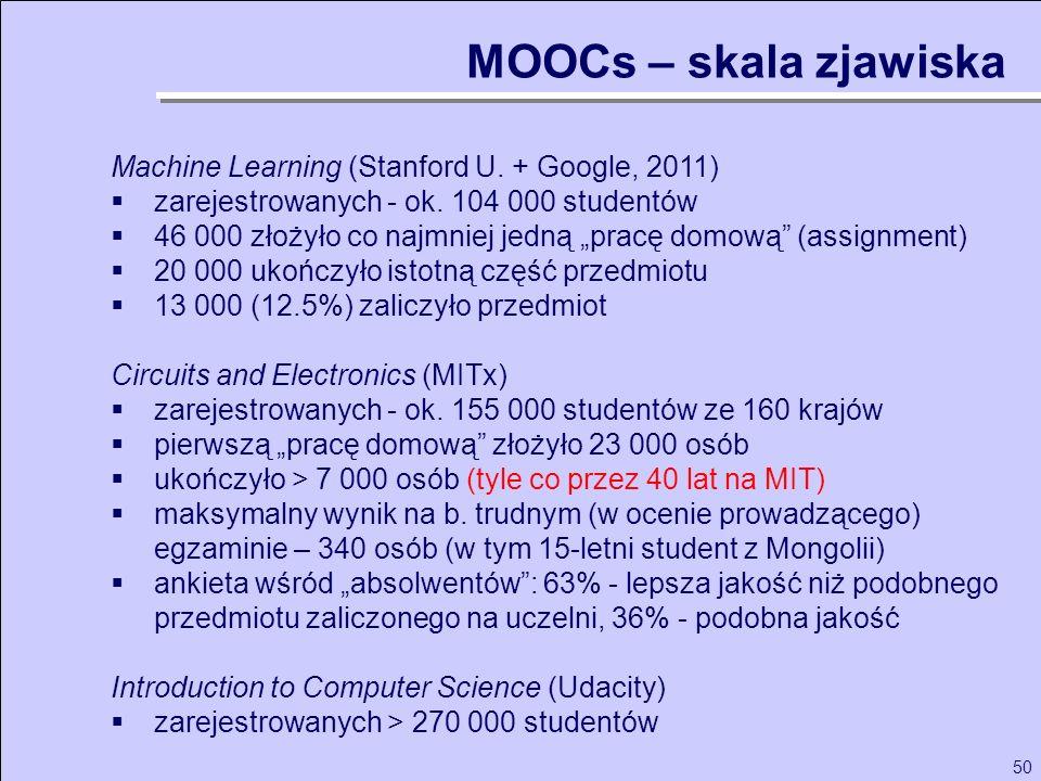 50 Machine Learning (Stanford U. + Google, 2011) zarejestrowanych - ok. 104 000 studentów 46 000 złożyło co najmniej jedną pracę domową (assignment) 2