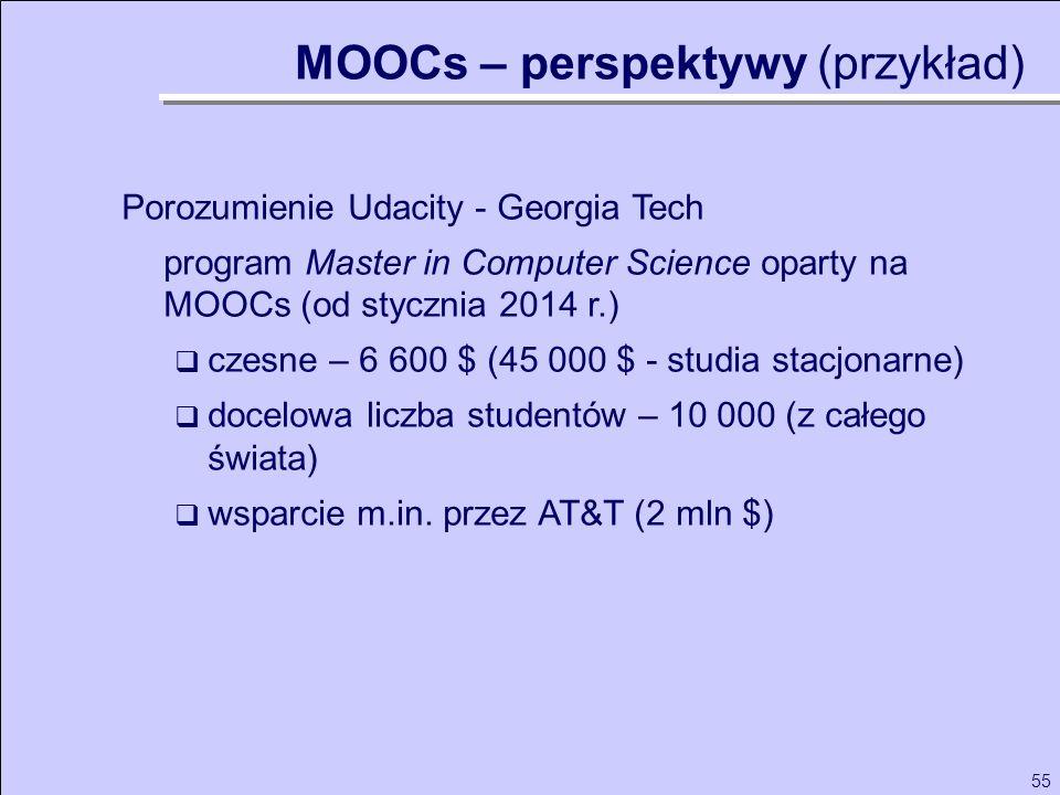 55 Porozumienie Udacity - Georgia Tech program Master in Computer Science oparty na MOOCs (od stycznia 2014 r.) czesne – 6 600 $ (45 000 $ - studia st
