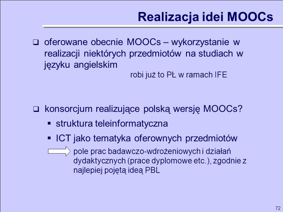 72 oferowane obecnie MOOCs – wykorzystanie w realizacji niektórych przedmiotów na studiach w języku angielskim robi już to PŁ w ramach IFE Realizacja