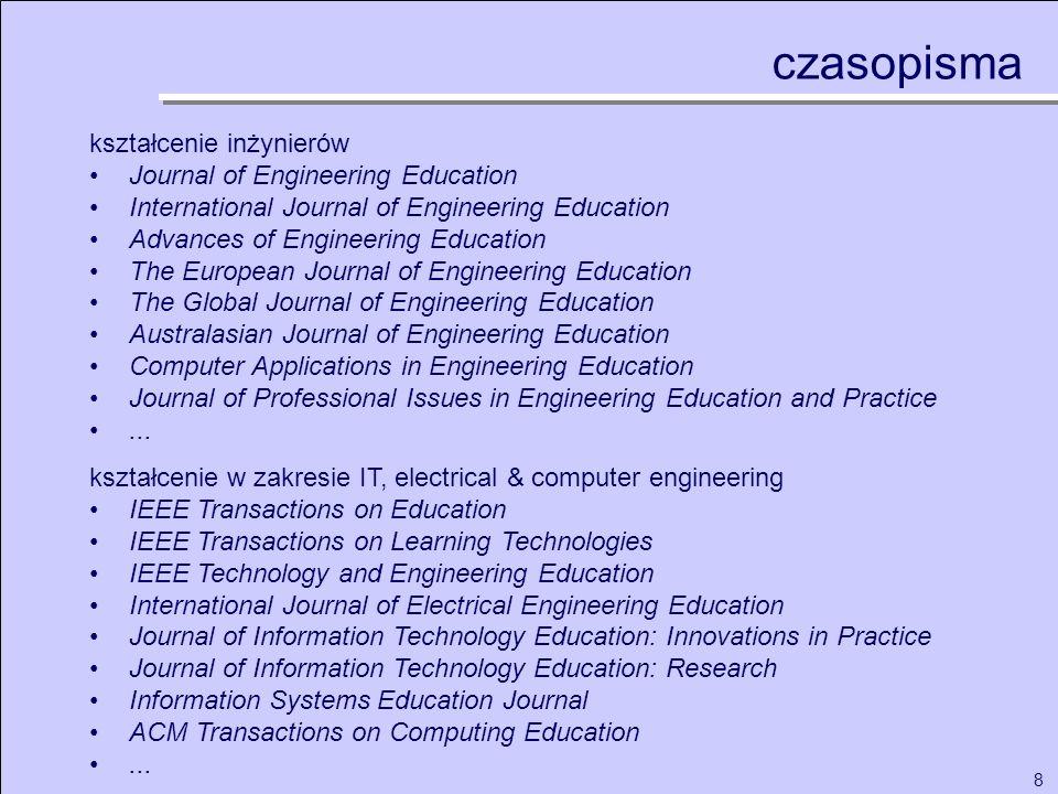 8 kształcenie inżynierów Journal of Engineering Education International Journal of Engineering Education Advances of Engineering Education The Europea