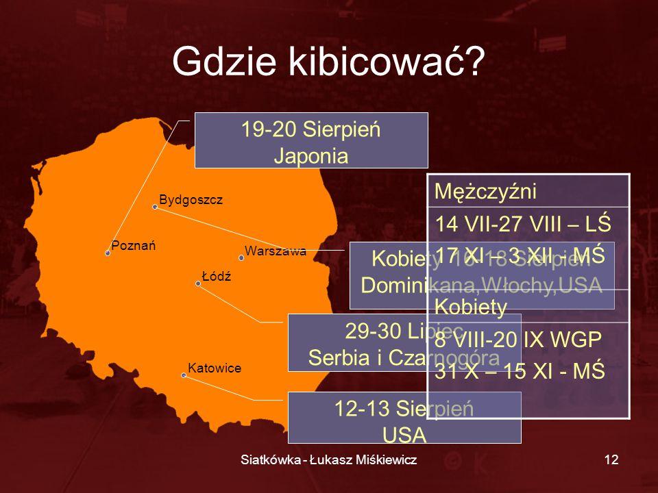 Siatkówka - Łukasz Miśkiewicz12 Gdzie kibicować? Bydgoszcz Katowice Łódź Poznań Warszawa 29-30 Lipiec Serbia i Czarnogóra 12-13 Sierpień USA 19-20 Sie