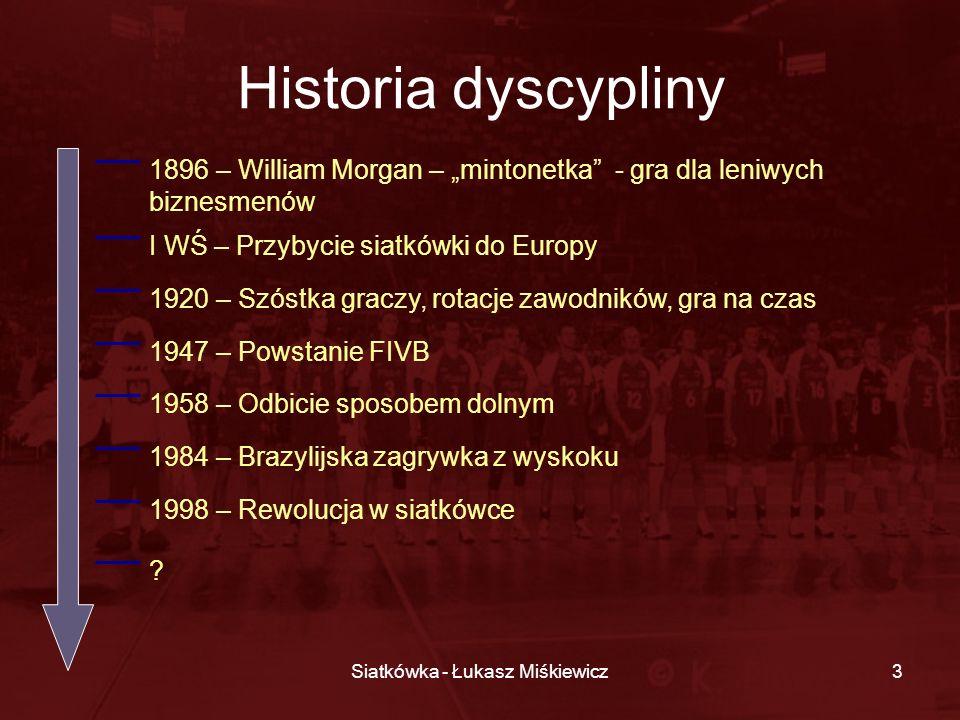 Siatkówka - Łukasz Miśkiewicz3 Historia dyscypliny 1896 – William Morgan – mintonetka - gra dla leniwych biznesmenów I WŚ – Przybycie siatkówki do Eur