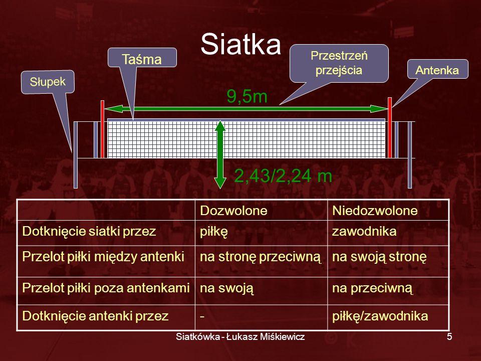 Siatkówka - Łukasz Miśkiewicz5 Przestrzeń przejścia Siatka DozwoloneNiedozwolone Dotknięcie siatki przezpiłkęzawodnika Przelot piłki między antenkina