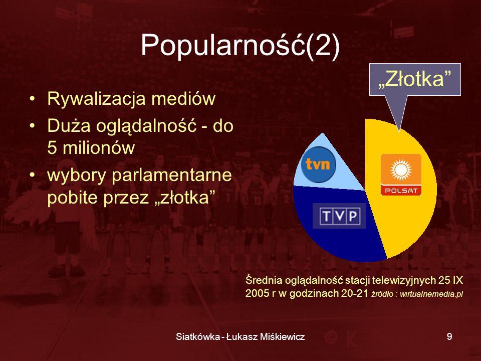 Siatkówka - Łukasz Miśkiewicz9 Popularność(2) Rywalizacja mediów Duża oglądalność - do 5 milionów wybory parlamentarne pobite przez złotka Średnia o g
