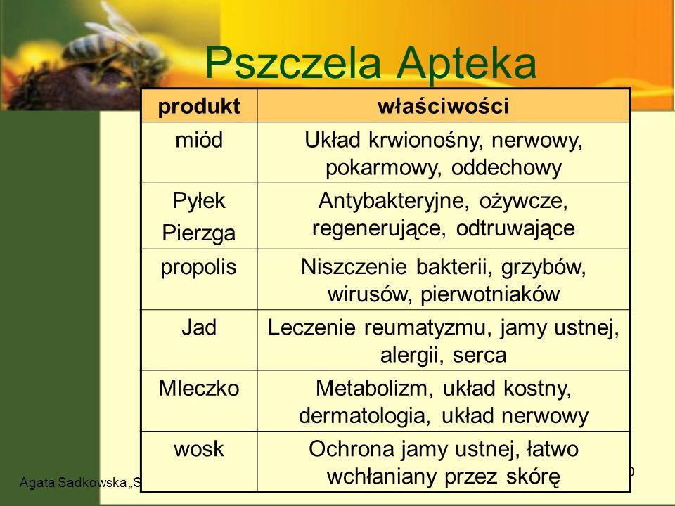 Agata Sadkowska Sekrety pszczół 10 Pszczela Apteka produktwłaściwości miódUkład krwionośny, nerwowy, pokarmowy, oddechowy Pyłek Pierzga Antybakteryjne