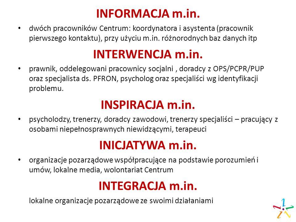 INFORMACJA m.in. dwóch pracowników Centrum: koordynatora i asystenta (pracownik pierwszego kontaktu), przy użyciu m.in. różnorodnych baz danych itp IN