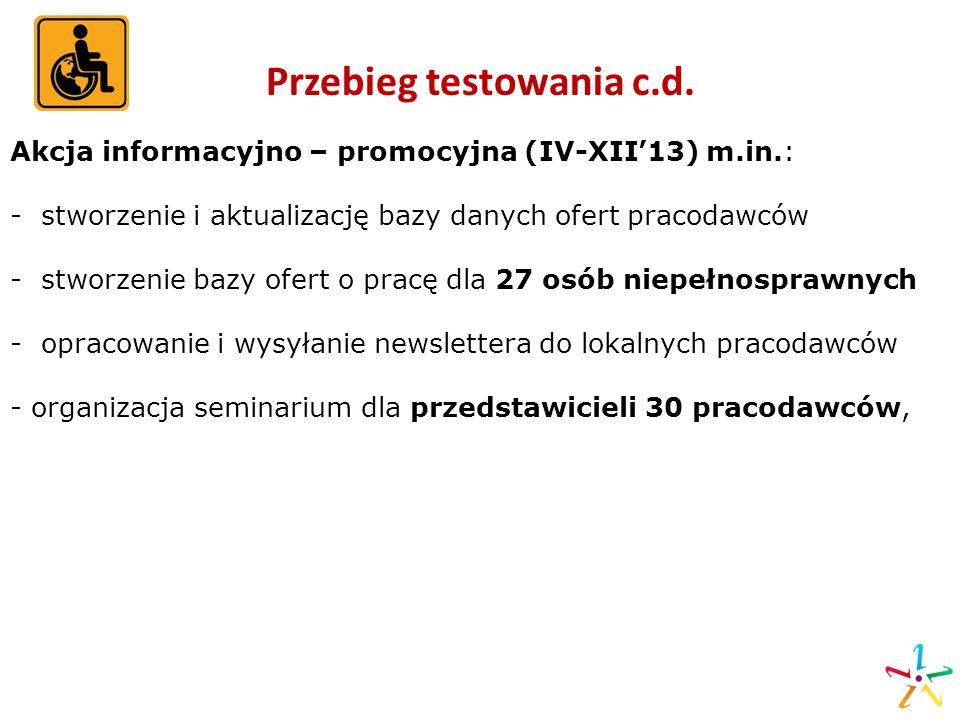 Przebieg testowania c.d. Akcja informacyjno – promocyjna (IV-XII13) m.in.: - stworzenie i aktualizację bazy danych ofert pracodawców - stworzenie bazy