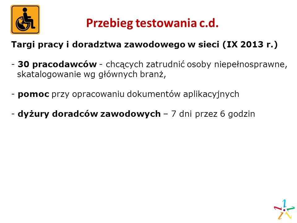 Przebieg testowania c.d. Targi pracy i doradztwa zawodowego w sieci (IX 2013 r.) - 30 pracodawców - chcących zatrudnić osoby niepełnosprawne, skatalog