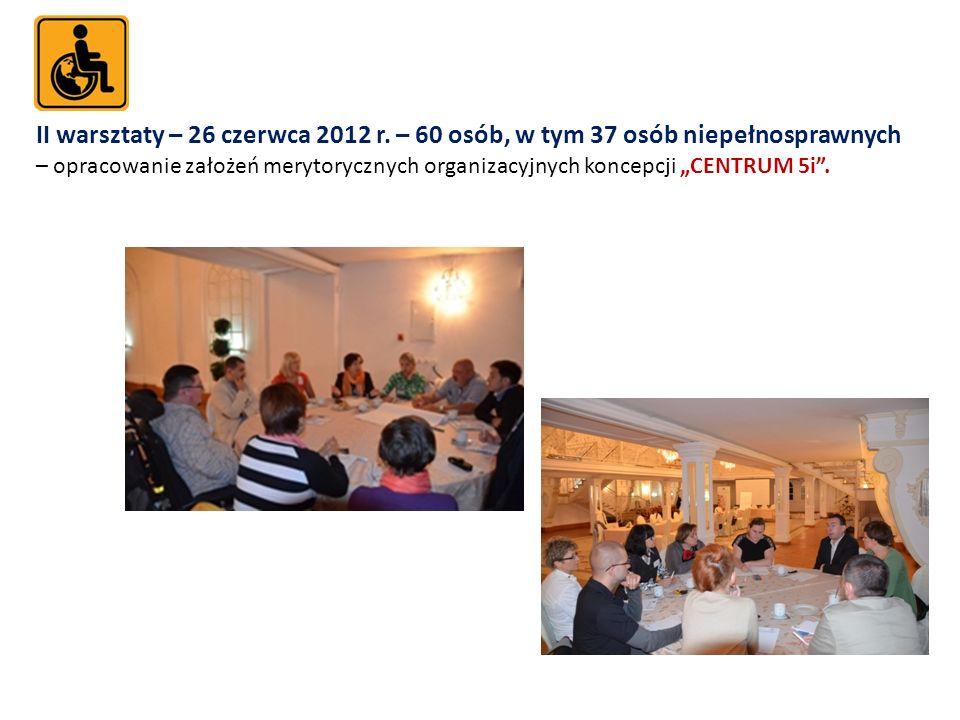 II warsztaty – 26 czerwca 2012 r. – 60 osób, w tym 37 osób niepełnosprawnych – opracowanie założeń merytorycznych organizacyjnych koncepcji CENTRUM 5i