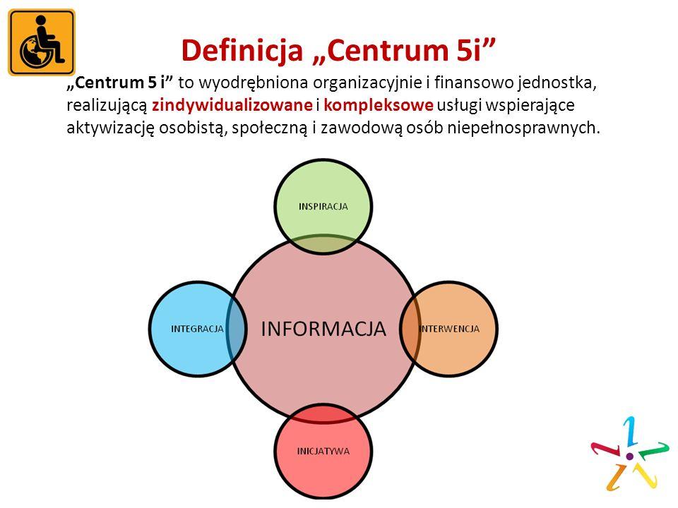 Definicja Centrum 5i Centrum 5 i to wyodrębniona organizacyjnie i finansowo jednostka, realizującą zindywidualizowane i kompleksowe usługi wspierające