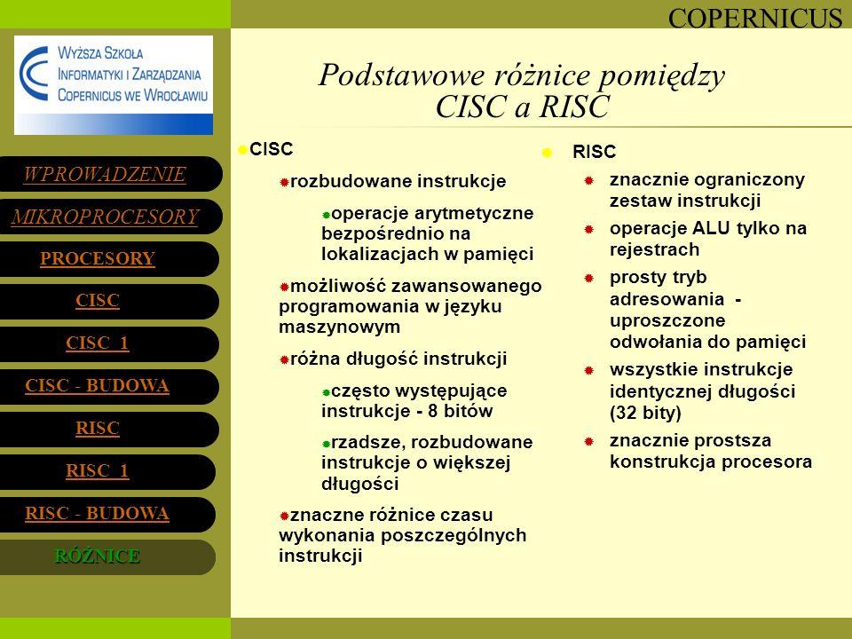 COPERNICUS Podstawowe różnice pomiędzy CISC a RISC WPROWADZENIE MIKROPROCESORY PROCESORY CISC 1 CISC 1 CISC - BUDOWA CISC - BUDOWA RISC 1 RISC 1 RISC