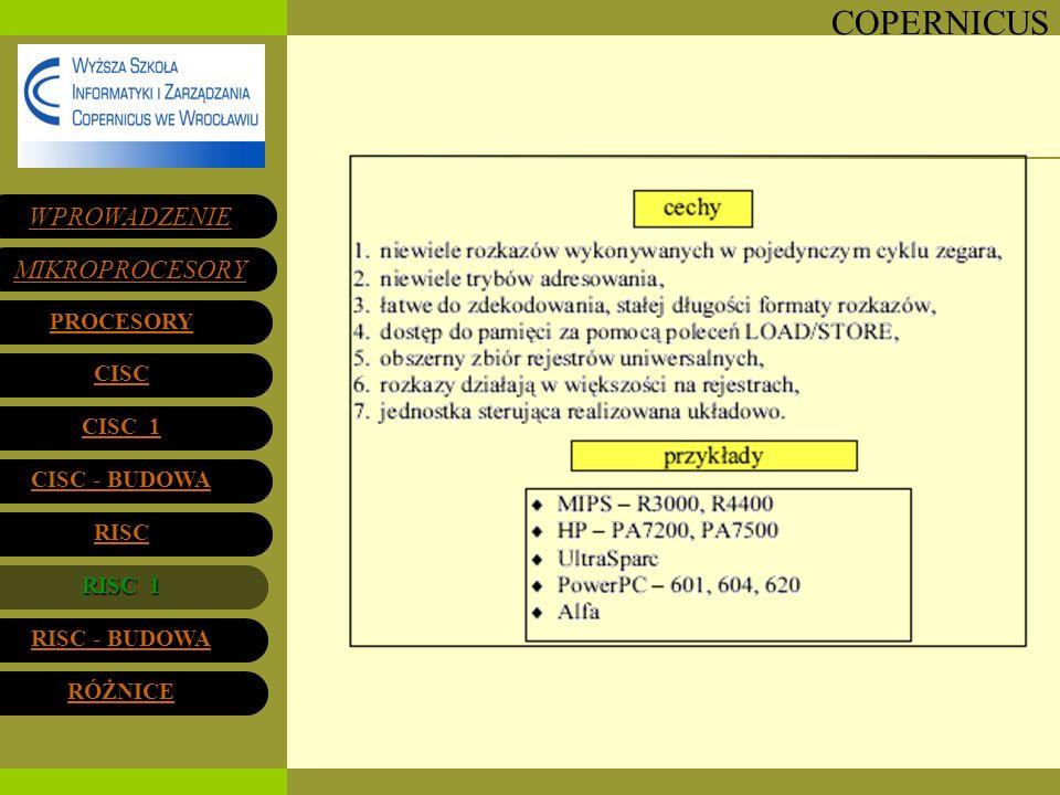 COPERNICUS RISC 1RISC 1 WPROWADZENIE MIKROPROCESORY PROCESORY CISC 1 CISC 1 CISC - BUDOWA CISC - BUDOWA RISC RISC 1 RISC - BUDOWA RISC - BUDOWA RÓŻNIC