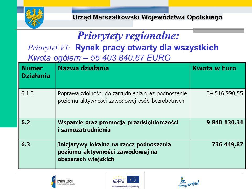 Urząd Marszałkowski Województwa Opolskiego Priorytety regionalne: Priorytet VI: Rynek pracy otwarty dla wszystkich Kwota ogółem – 55 403 840,67 EURO N
