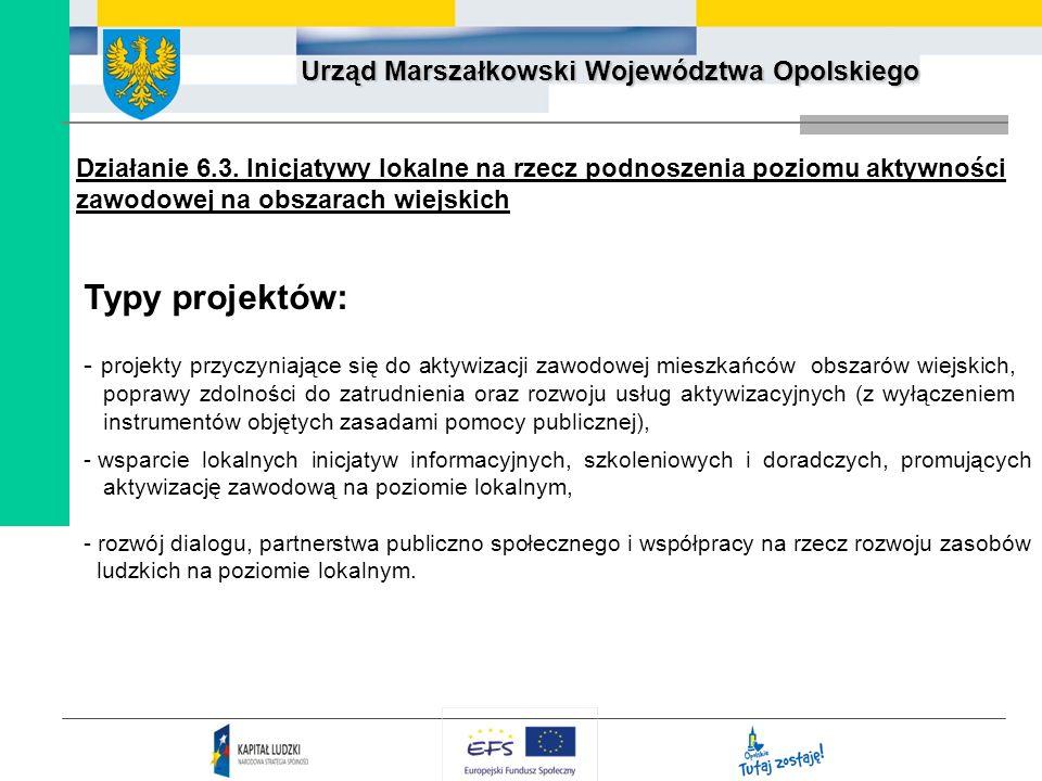 Urząd Marszałkowski Województwa Opolskiego Działanie 6.3. Inicjatywy lokalne na rzecz podnoszenia poziomu aktywności zawodowej na obszarach wiejskich