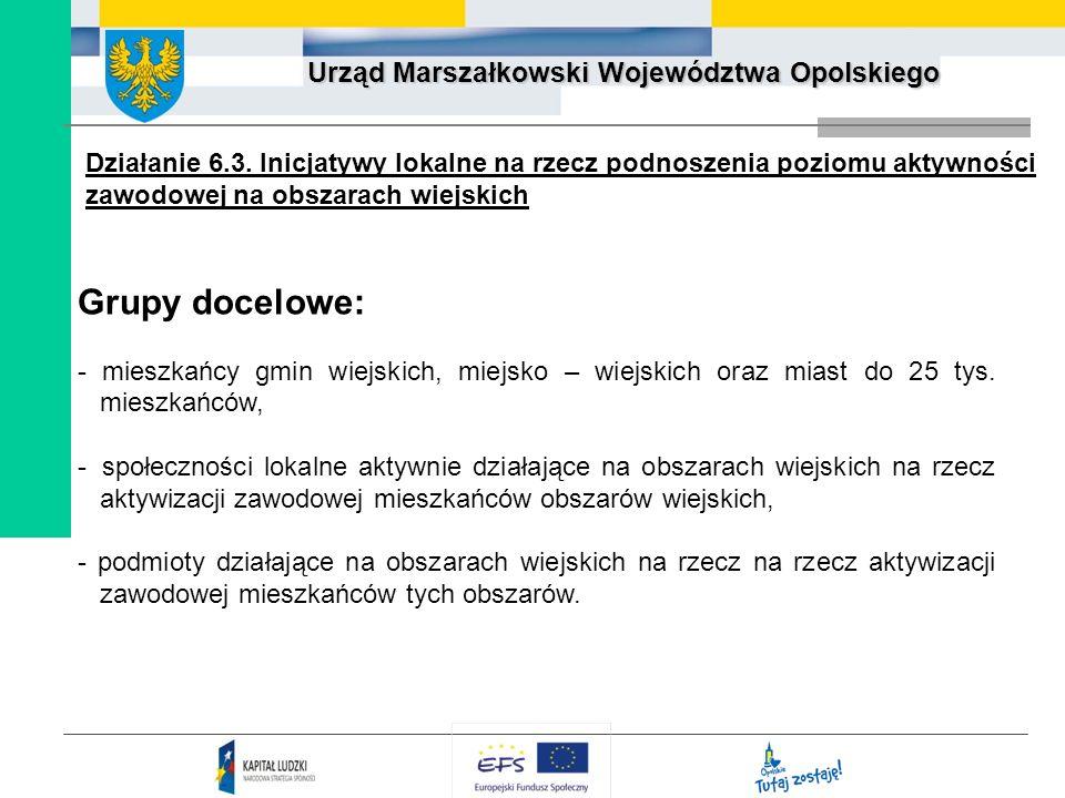 Urząd Marszałkowski Województwa Opolskiego Grupy docelowe: - mieszkańcy gmin wiejskich, miejsko – wiejskich oraz miast do 25 tys. mieszkańców, - społe