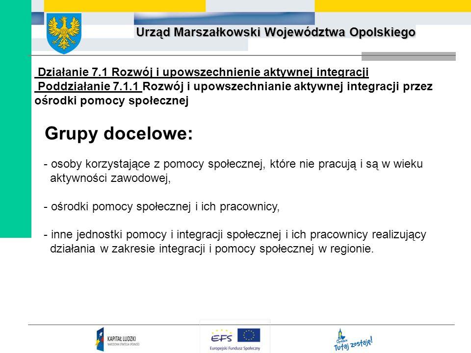 Urząd Marszałkowski Województwa Opolskiego Działanie 7.1 Rozwój i upowszechnienie aktywnej integracji Poddziałanie 7.1.1 Rozwój i upowszechnianie akty