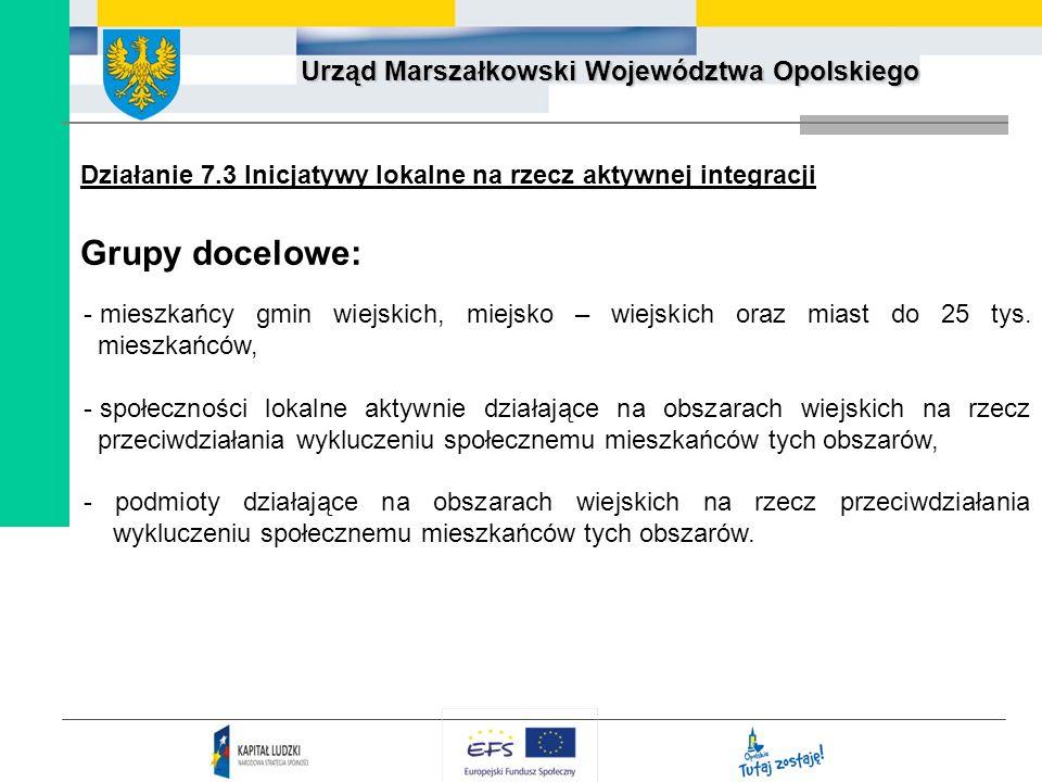 Urząd Marszałkowski Województwa Opolskiego Działanie 7.3 Inicjatywy lokalne na rzecz aktywnej integracji Grupy docelowe: - mieszkańcy gmin wiejskich,