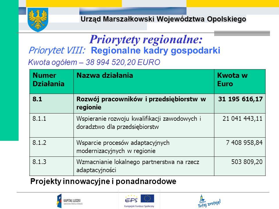 Urząd Marszałkowski Województwa Opolskiego Priorytet VIII: Regionalne kadry gospodarki Kwota ogółem – 38 994 520,20 EURO Priorytety regionalne: Projek