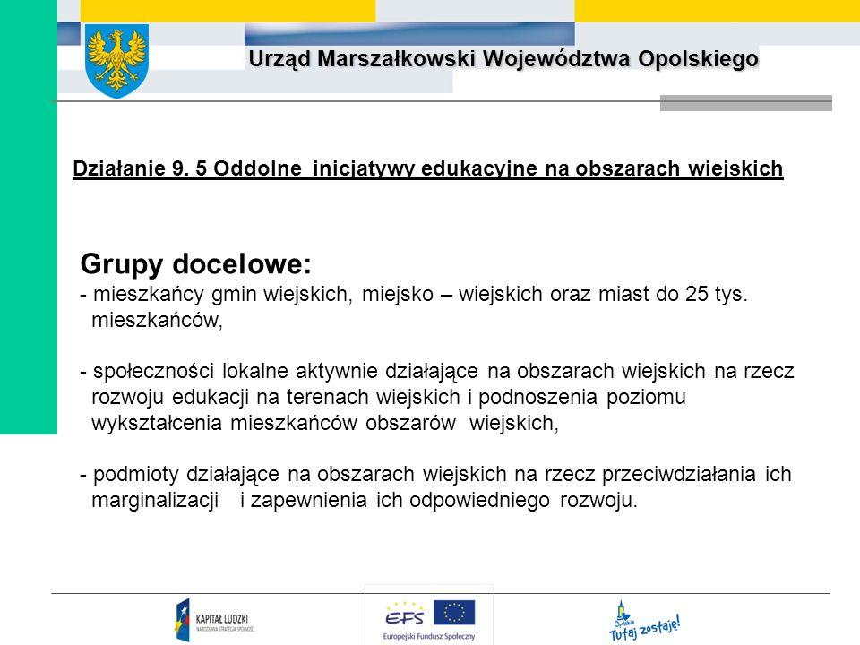 Urząd Marszałkowski Województwa Opolskiego Działanie 9. 5 Oddolne inicjatywy edukacyjne na obszarach wiejskich Grupy docelowe: - mieszkańcy gmin wiejs