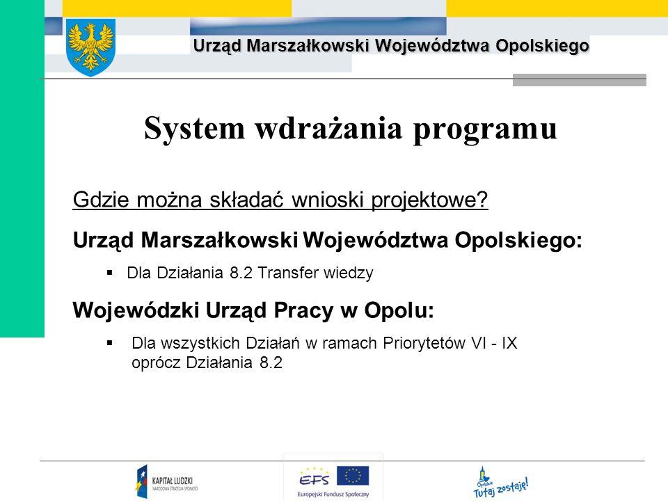 Urząd Marszałkowski Województwa Opolskiego System wdrażania programu Gdzie można składać wnioski projektowe? Urząd Marszałkowski Województwa Opolskieg