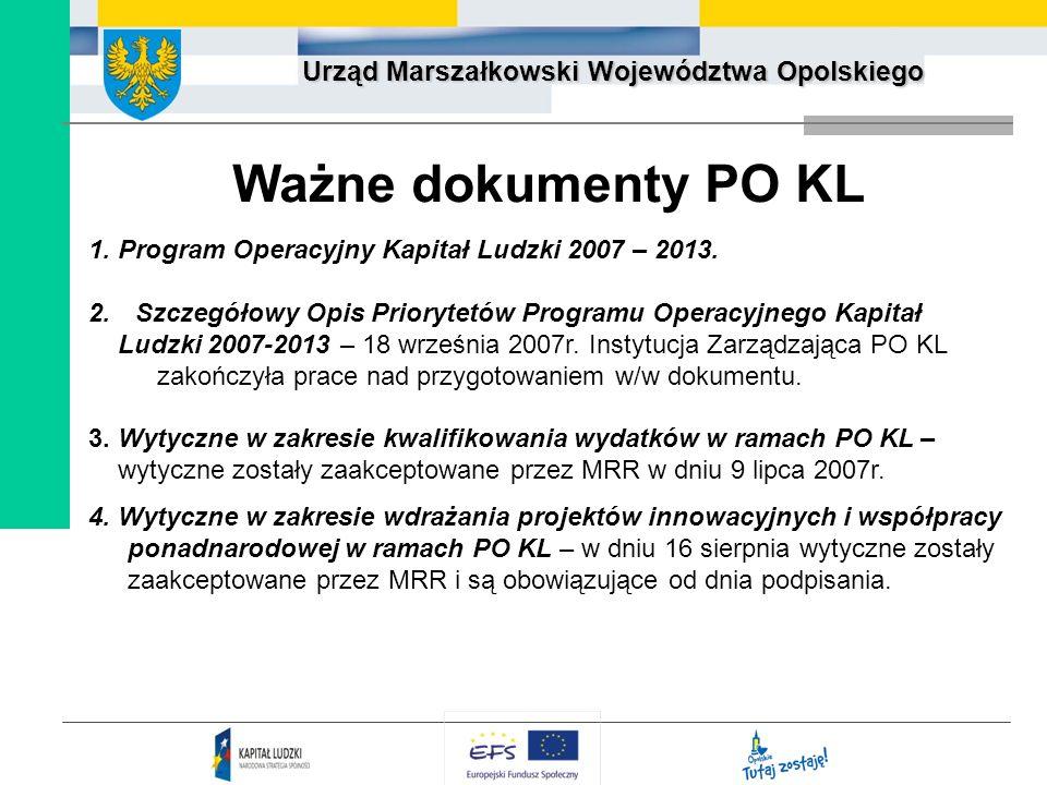 Urząd Marszałkowski Województwa Opolskiego Ważne dokumenty PO KL 1. Program Operacyjny Kapitał Ludzki 2007 – 2013. 2. Szczegółowy Opis Priorytetów Pro